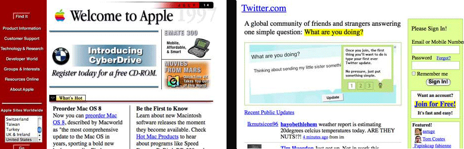 Early Apple Mac & Twitter websites